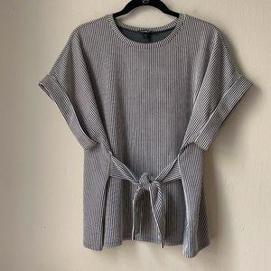 Express Gray & White Tie Front Waist T-Shirt